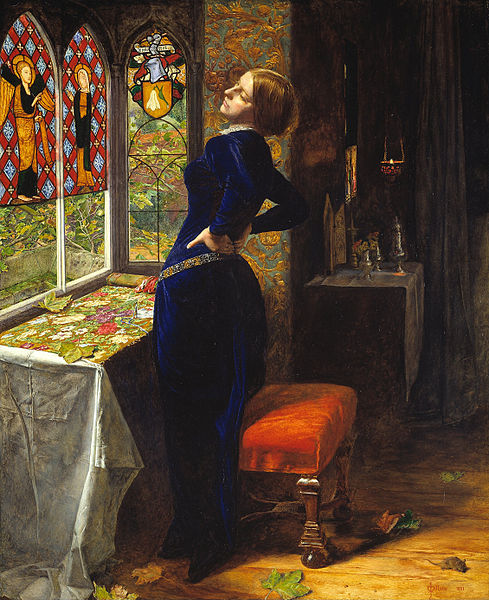John Everett Millais, Mariana, 1851, Tate Gallery London. ( héroïne médiévale version pré-raphaëlite)