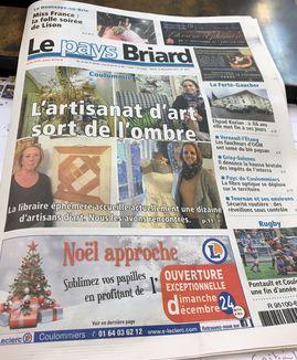 L'artisanat remarqué en page de couverture du pays Briard 19/12/2017