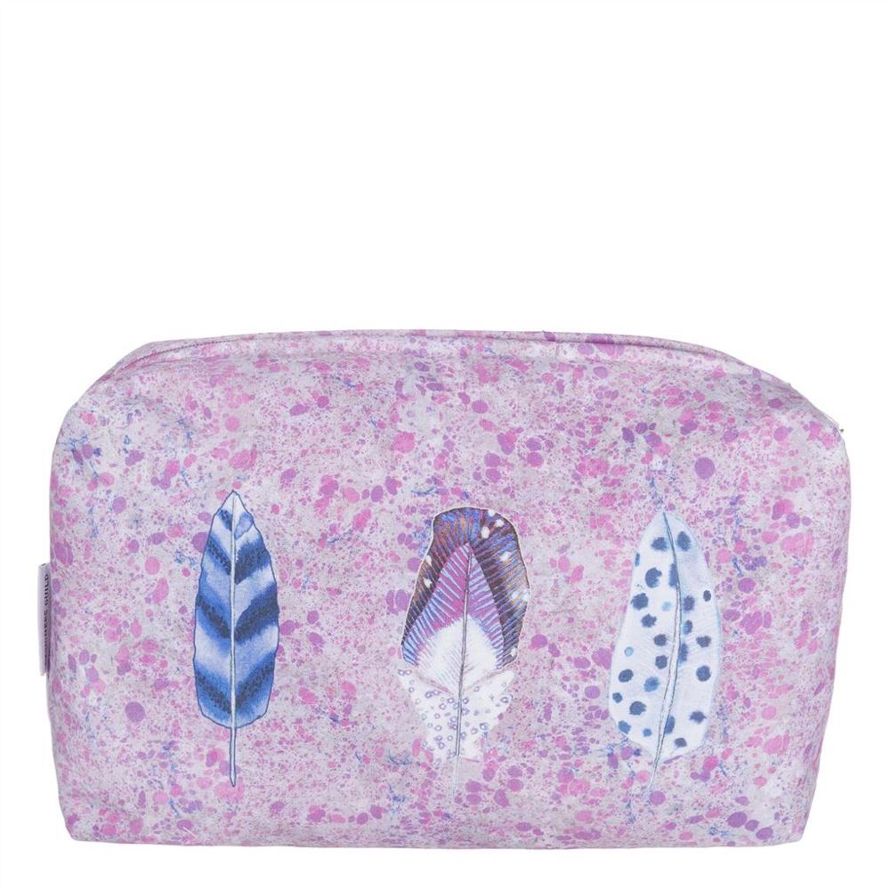 Trousse Designers Guild zip, motifs plumes fond rose