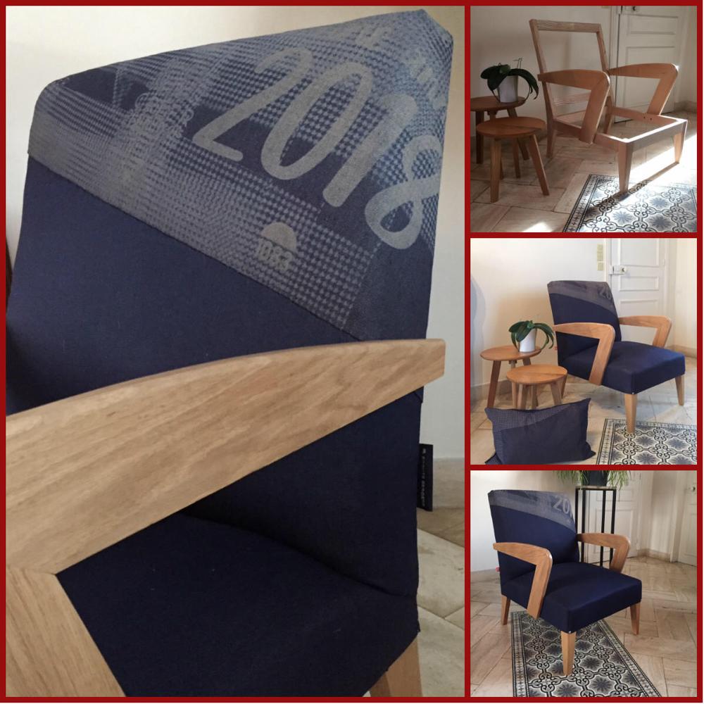 Création d'un siège bois et jean denim 100 % bio, partenariat 1083 & Ecoute Bergèren exposé à la nouvelle boutique 1083 au 114 rue de Turenne à Paris