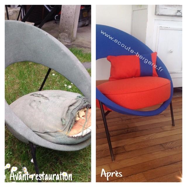 reatauration d'un fauteuil Saturne Burov 1955, Geneviève Dangles et Christian Defrance