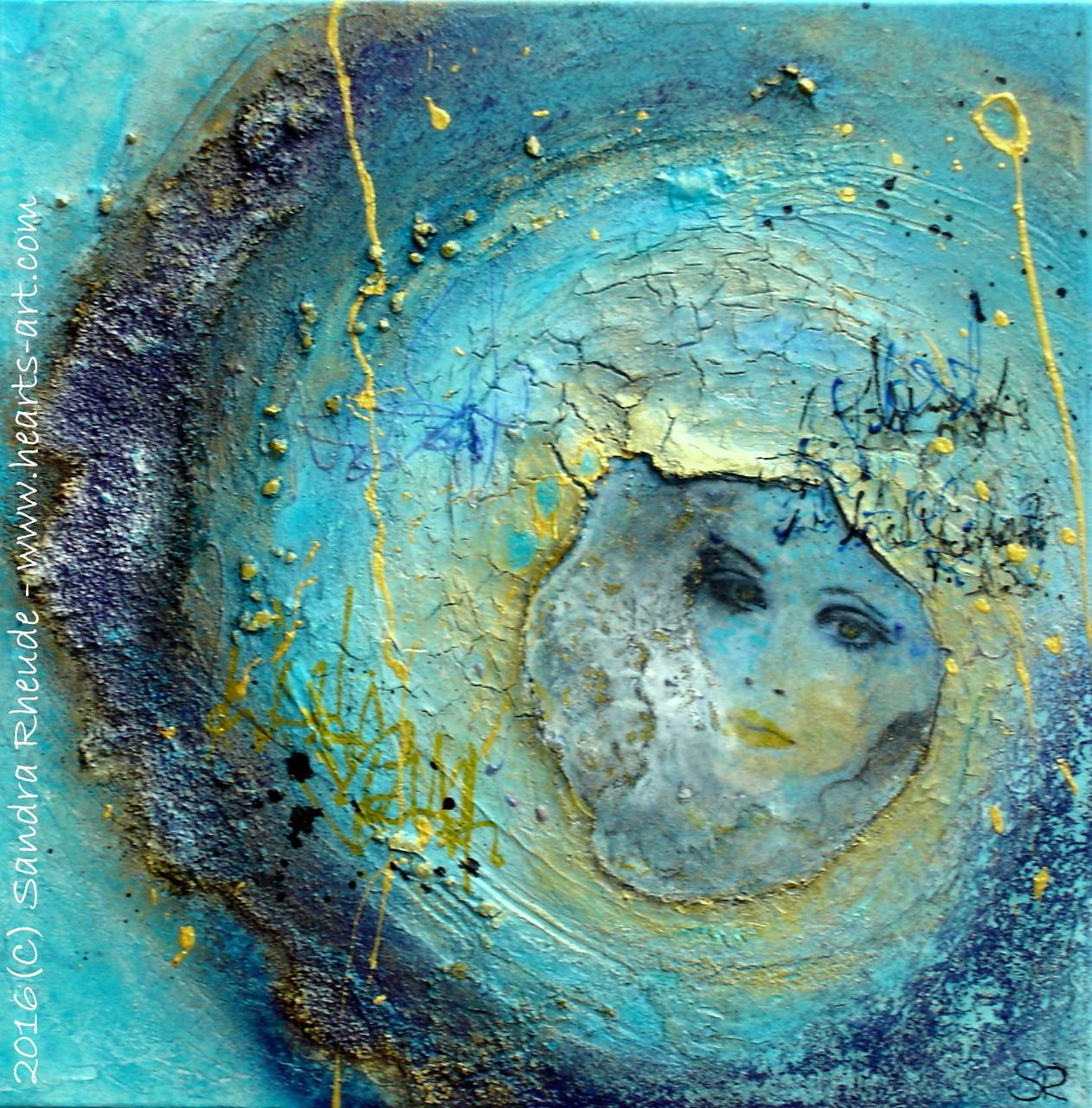 'Sehnsucht der Mondfrau' - 2016/5 - Acryl/MixedMedia auf Leinwand - 40 x 40 cm - 4 cm Tiefe - € 330