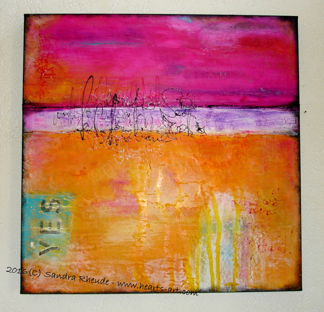 'Walkin' on Sunshine' -  2016/15 - Acryl/MixedMedia auf Leinwand - 70 x 70 x 4,5 cm - € 1111