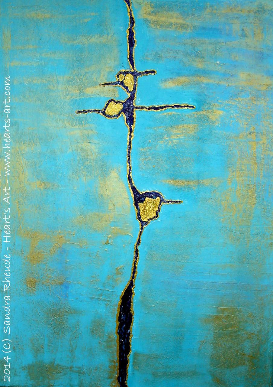 'Der Lauf der Dinge' - 2014/8 - Acryl/MixedMedia auf Leinwand - 50 x 70 cm - verkauft (Bayern)