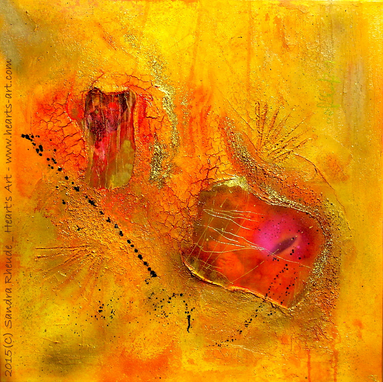 'Golden Age of the Moonflower Seeds' - 2015/08 - Acryl/MixedMedia auf Leinwand - 70 x 70 cm - € 330