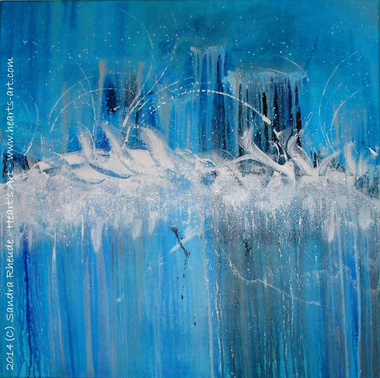 'Dolphins' Rain Dance' - 2014/16 - Acryl auf Leinwand - 70 x 70 cm - verkauft (Schweiz)