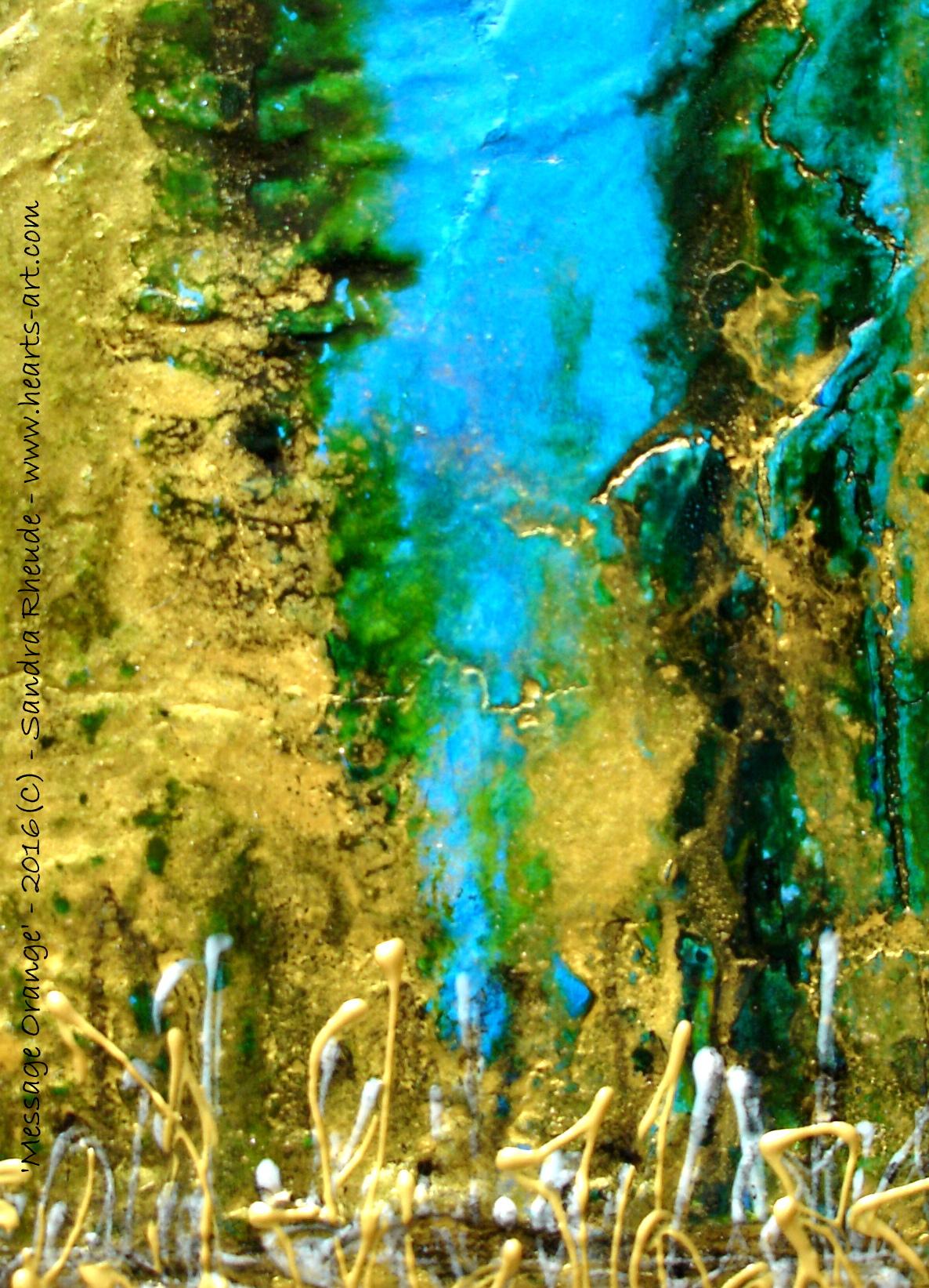 Detail aus 'Message Orange' - 2016/33 - Acryl/MixedMedia auf Leinwand - 30 x 40 cm - verkauft (Deutschland)