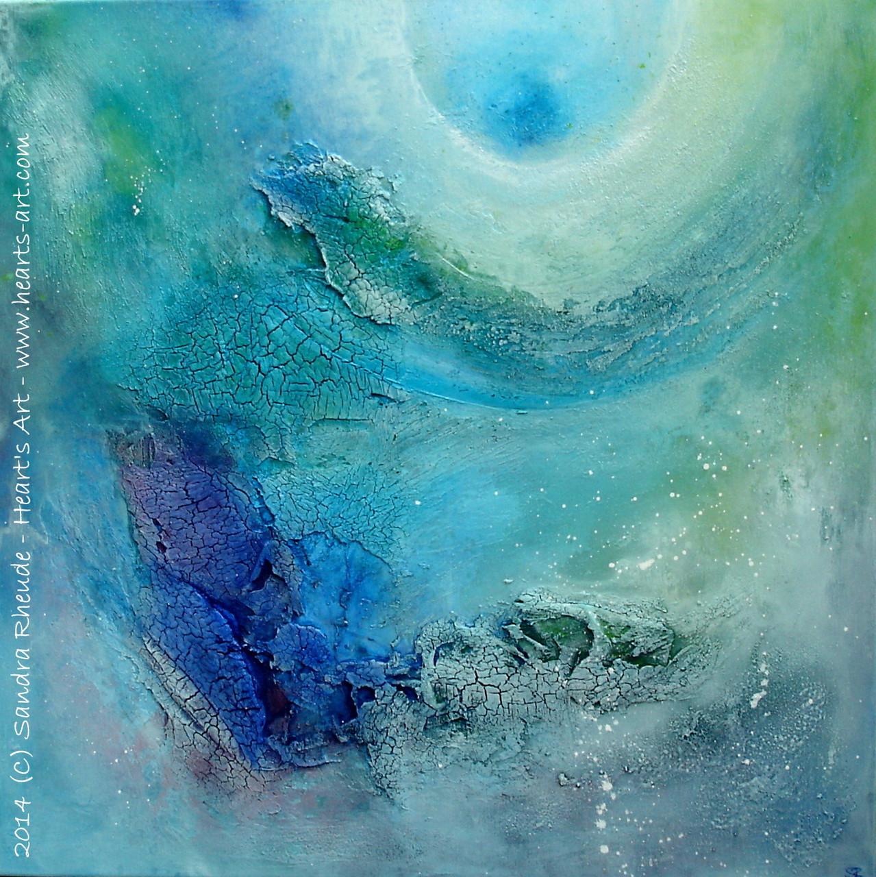 'Mermaid' - 2014/37 - Acryl/MixedMedia auf Leinwand - 70 x 70 cm - verkauft (Bayern) - 2. Platz beim Fairkunst Award 2014