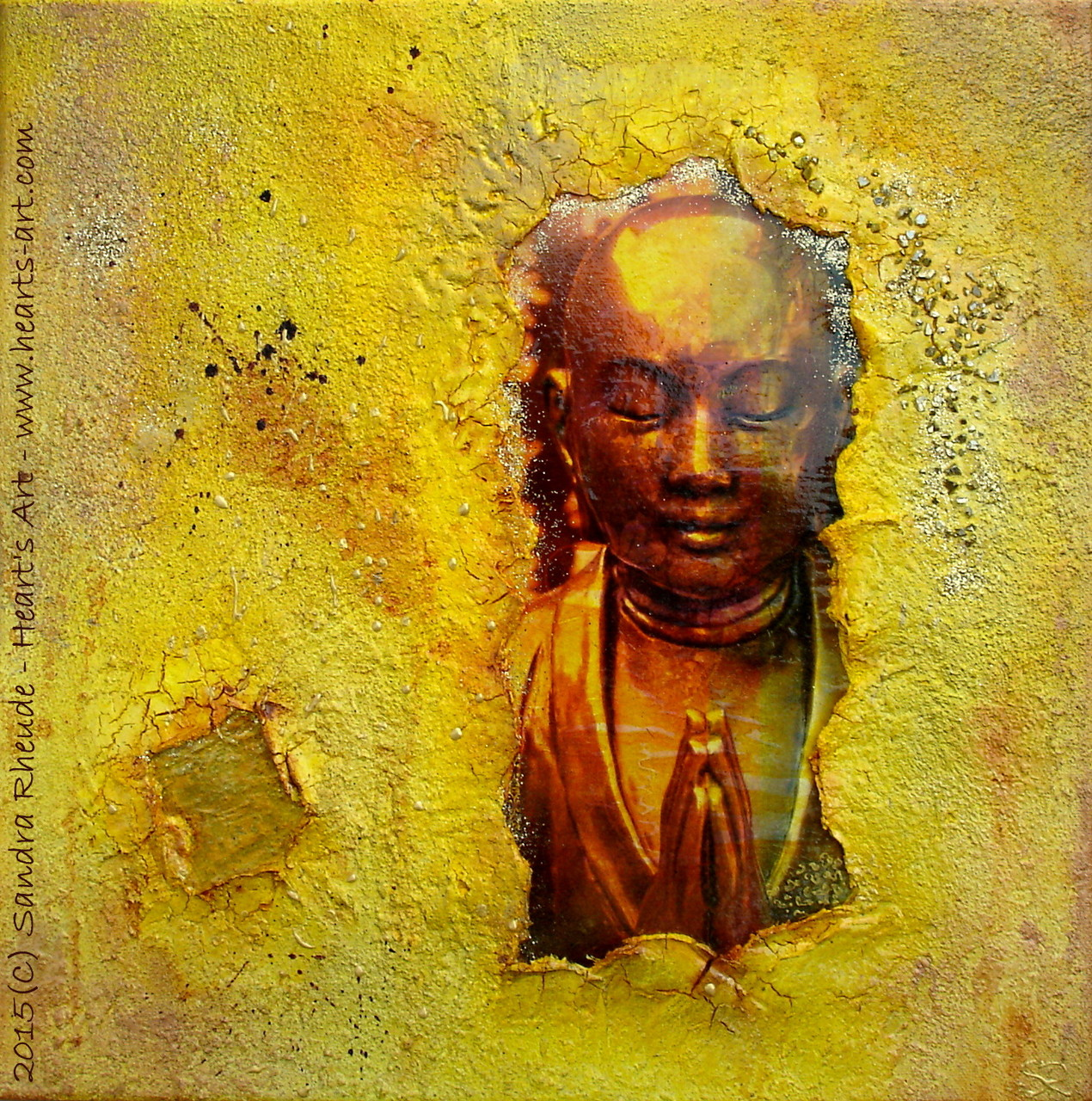 'Buddha's little Secret' - 2015/16 - Acryl/MixedMedia auf Leinwand - 40 x 40 cm - € 170