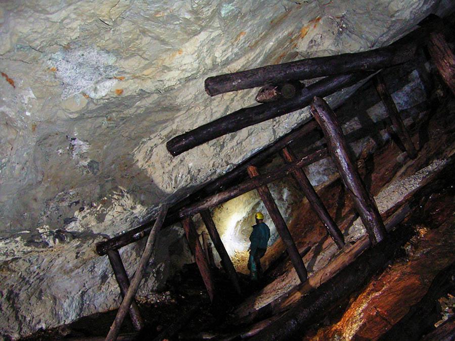 Boisage conservé dans une ancienne mine de barytine du Mont Lozère