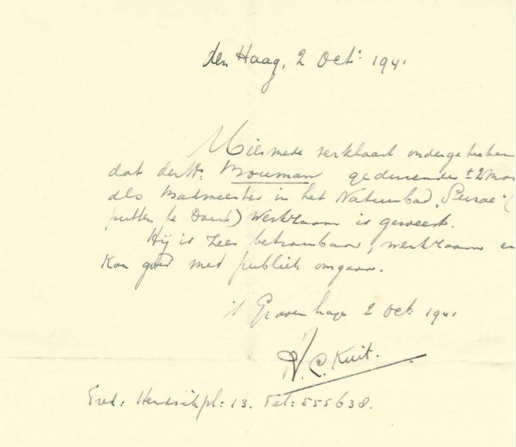 """Getuigschrift badmeester natuurbad """"Surae"""" te Breda."""