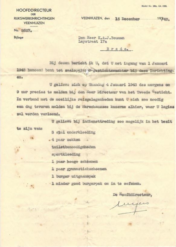 Aanstelling zaalopziener gestichtswacht Veenhuizen