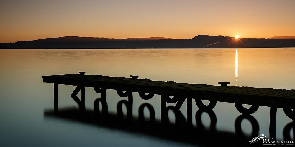 North Island: Sonnenaufgang am Lake Rotorua