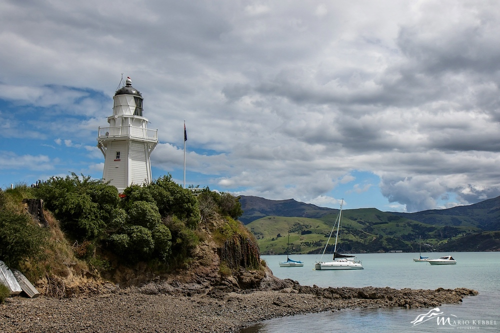 South Island: Leuchtturm in Akaroa