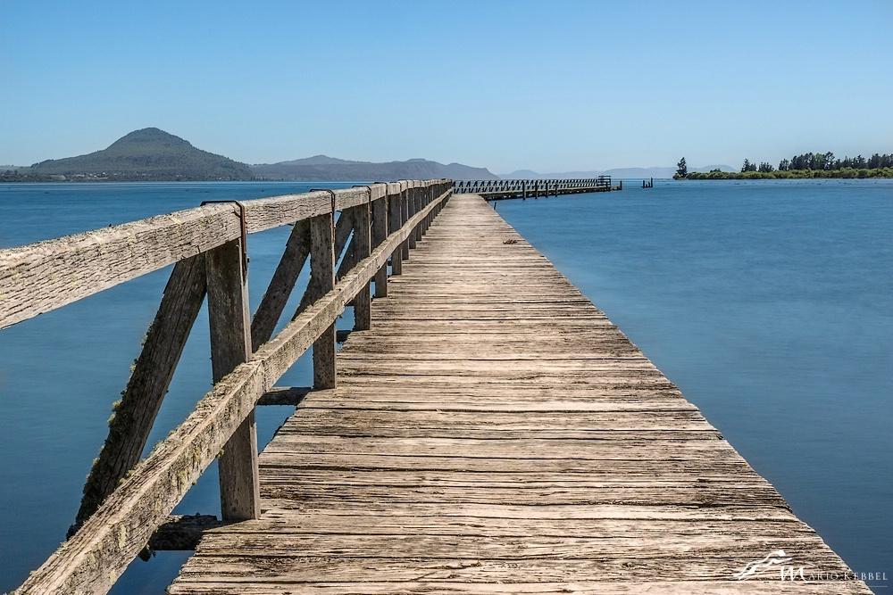 North Island: Tokaanu Wharf am Lake Taupo