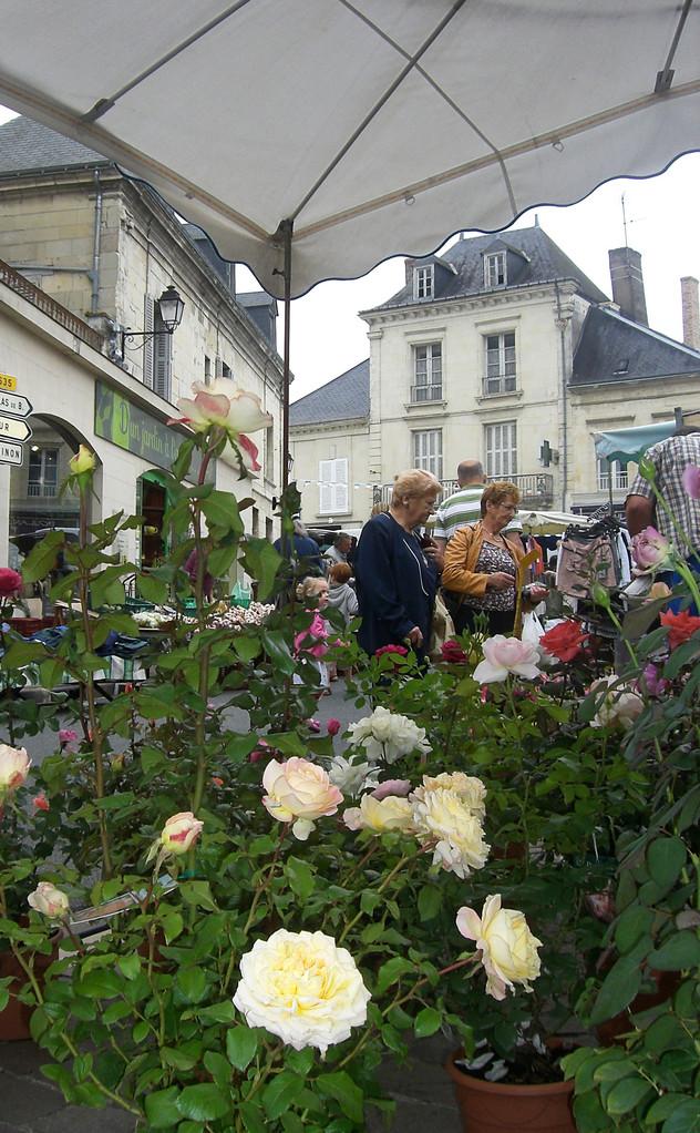 Jour de marché place de l'église Bourgueil