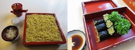 左)蘭切り蕎麦(860円) 右)蕎麦寿司(700円)  2015年訪問