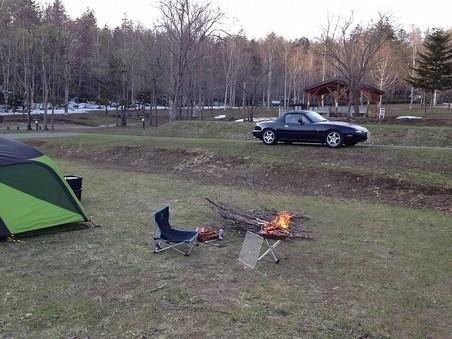 その辺の枝を拾ってきての焚き火が楽しみ・・羊蹄山自然公園真狩村キャンプ場(虻田郡真狩村)