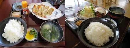 左)餃子定食=750円  右)ハンバーグ定食=850円