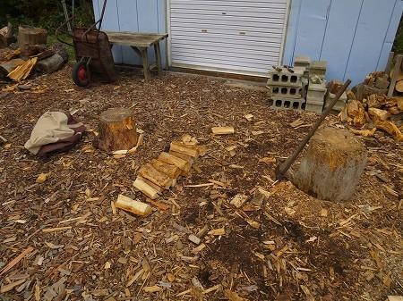 私が割った薪。これだけあれば充分。