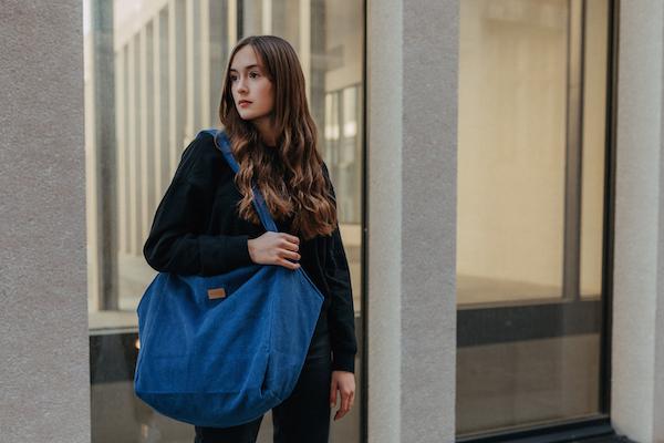 Beuteltasche Tote Bag Cord, blau, Zacamo
