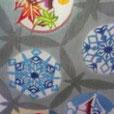 『雪の結晶と四季の富士山模様』 正絹六通帯 FujinoBingata/ふじのびんがた染工房【きもの】【ワンピースdress】の御誂え承ります。