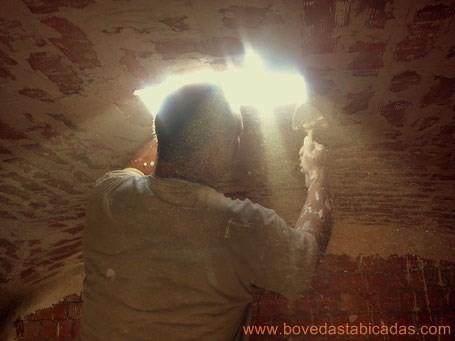 Finalización de bóveda tabicada de arista www.bovedastabicadas.com