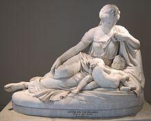 Léto et ses enfants Artémis et Apollon (William Henry Rinehart, 1874)