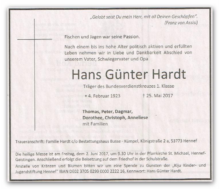 Am 2.6.2017 fanden die Beisetzungsfeierlichkeiten für unser ehemaliges Mitglied Hans Günter Hardt unter Beteiligung einiger aktiver Unabhängiger statt.
