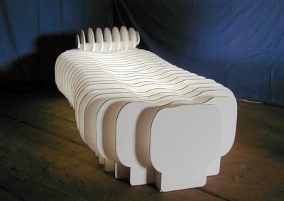 die couch / PAPIER-art ART-papier, Kunstobjekt, Sperrholzschichten weiß lakiert mit Innenbeleuchtung, Harald Metzler, Mattsee, Österreich