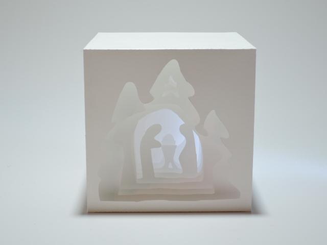 Lichtwürfel weißes Papier - Krippe
