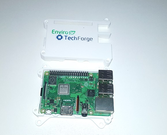 "Figure 1: printed ""Raspberry Pi Case"" with EnviroTechForge logo"