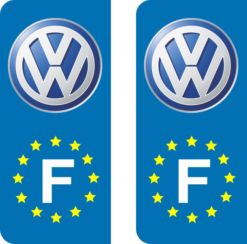 volkswagen stickers pour plaques immatriculation adh sifs logos r gions. Black Bedroom Furniture Sets. Home Design Ideas