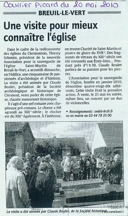 20 mai 2010 - une viste pour mieux connaître l'église Saint Martin de Breuil le Vert.