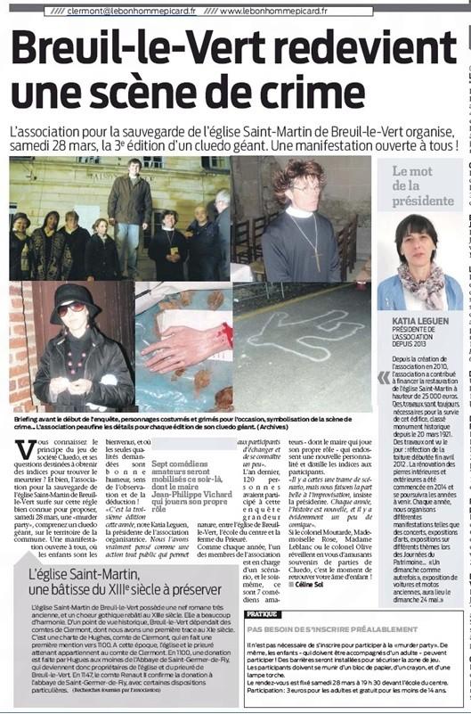 24 mars 2015 - LE Bonhomme Picard - 3e édition d'un cluedo géant organisé par l'association pour la sauvegarde de l'église Saint Martin de Breuil le Vert - SMBLV