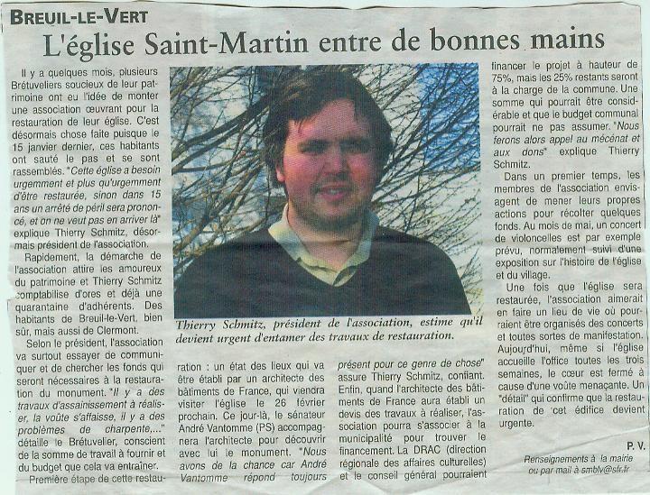 Association de Sauvegarde de l'église Saint Martin de Breuil le Vert