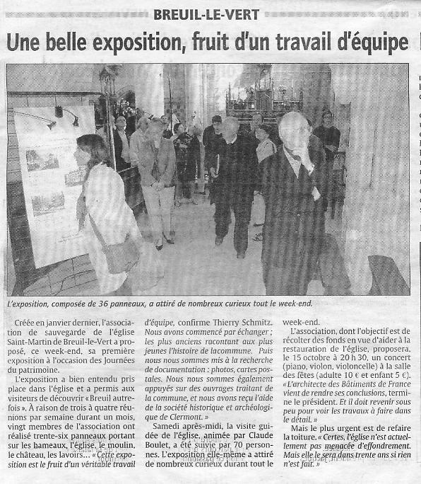 20 septembre 2010 - journées du patrimoine - une belle exposition pour découvrir Breuil le Vert autrefois.