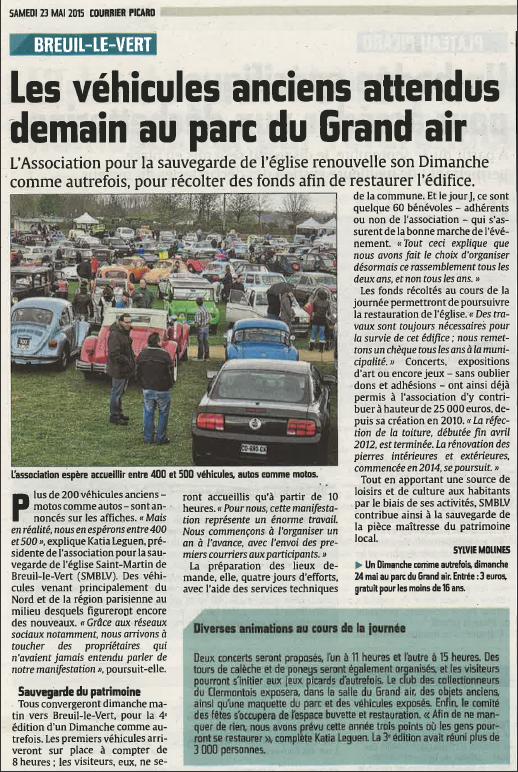 """23 mai 2015 - Courrier Picard - """"Les véhicules anciens attendus demain au parc du Grand Air"""" à Breuil le Vert."""