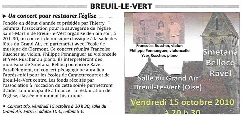 15 octobre 2010 - un concert pour restaurer l'église Saint Martin de Breuil le Vert.