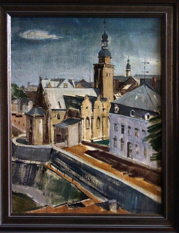 Emil Flecken, Ansicht der Clemens-Kirche um 1929, Öl auf Leinwand
