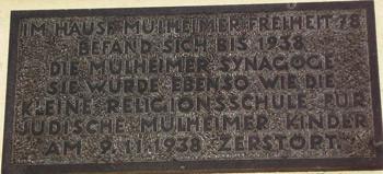 Gedenkplatte am Haus Mülheimer Freiheit 78