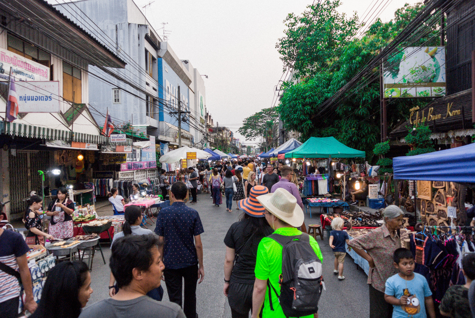 Night market in Chiang Mai, Thailand. Some vegan food options are available, but you have to ask for it!