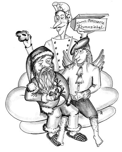 Der Nikolaus, der Krummziebel Josef und Alexis sitzen auf einer Wolke