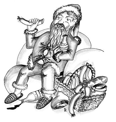 Der heilige Nikolaus sitzt auf einer Wolke und ißt Fleischwurst. Im Arm hält er eine Flasche Schnaps.