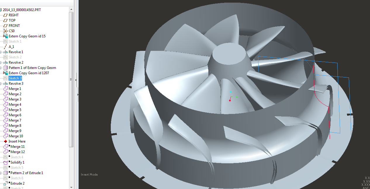 Drafting AR Surface reflecting the Blade trimming for a Turbine Impeller