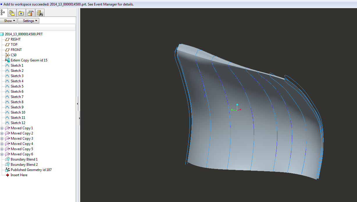 Modeling of Impeller Blades using Surfaces for a Turbine Impeller