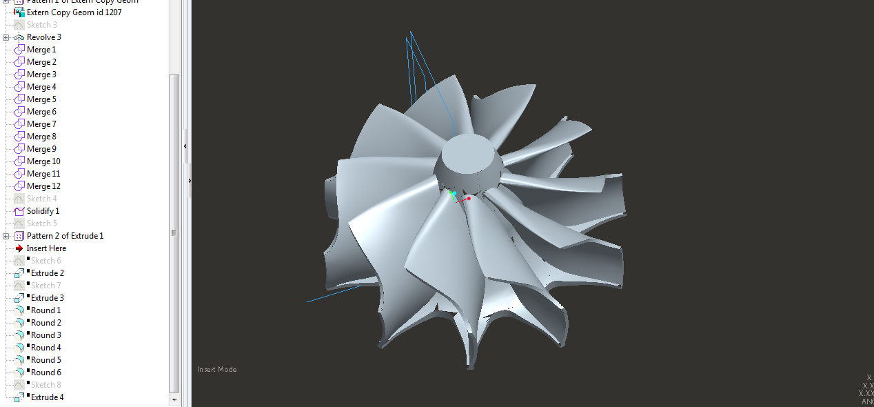Solidifying of Surfaces Model and Cutting Webbing into Hub for a Turbine Impeller