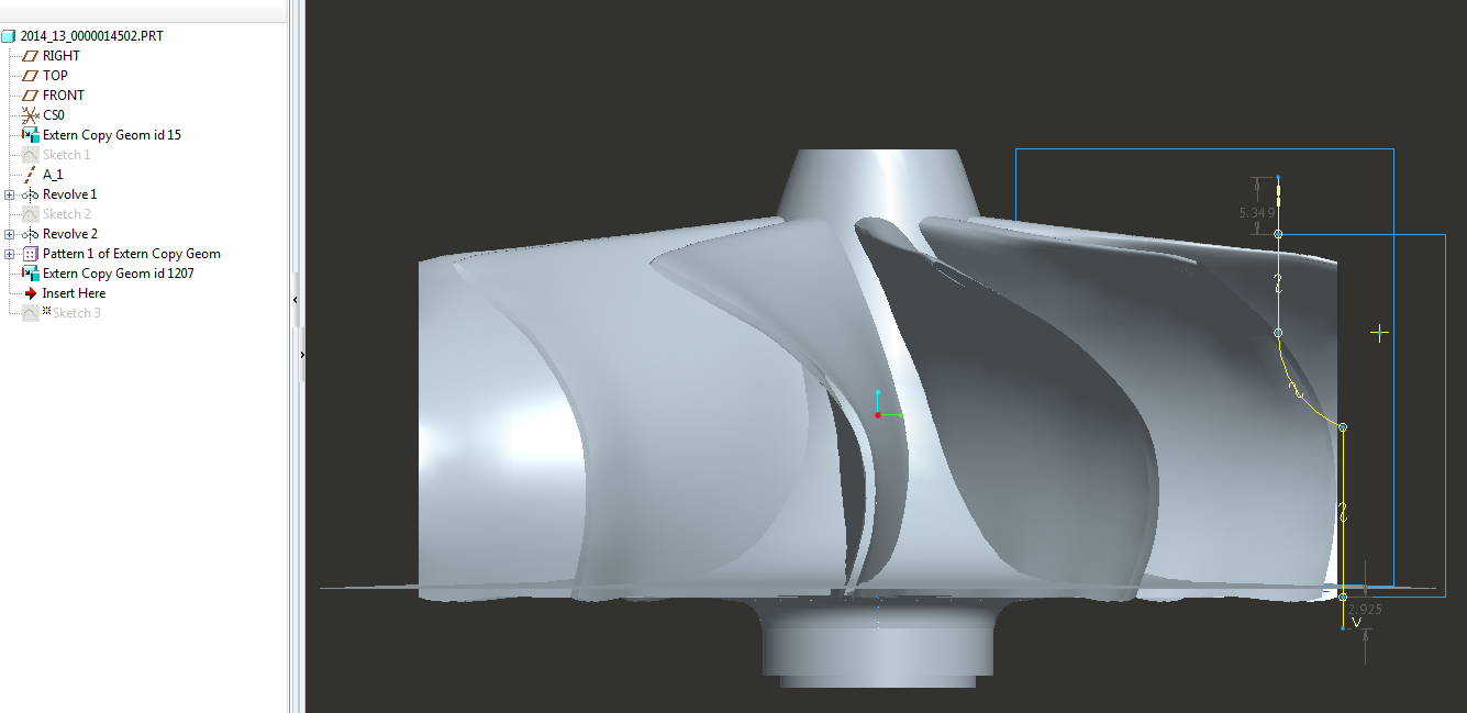 Merging separate Models of Hub and Blade(s) for a Turbine Impeller