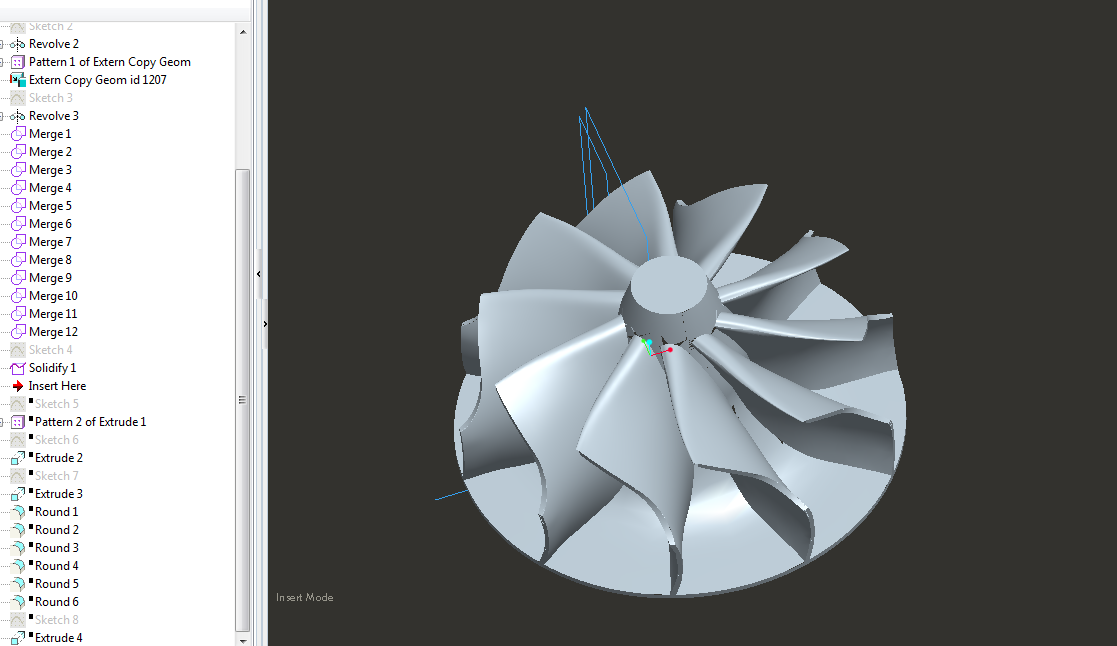 Merging of Bottom Surface of the Hub with the Top Merged Surfaces of Hub and Blades for a Turbine Impeller