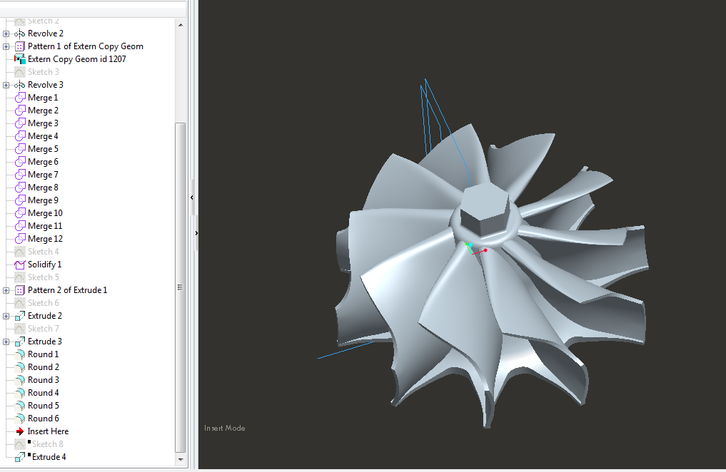 Adding to Unified / Solidified Model Top Nut Feature for a Turbine Impeller